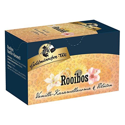 Goldmännchen Tee Rooibos Vanille - Karamell mit Blüten, Rooibostee, Kräutertee im Beutel, 20 einzeln versiegelte Teebeutel (Vanille Blüte)