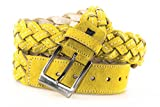 Belt man LAURA BIAGIOTTI yellow braided belt with stitchings 120 cm R3968