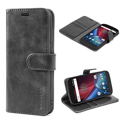 Mulbess Handyhülle für Moto G4 Hülle, Moto G4 Plus Hülle, Leder Flip Case Schutzhülle für Motorola Moto G4 / G4 Plus Tasche, Schwarz