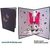 LIN - Biglietto tridimensionale pop-up di auguri o ringraziamenti, soggetto: farfalla, colore: blu