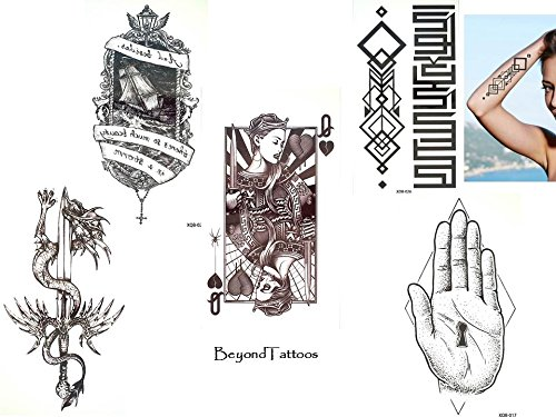 5fogli top trend tatuaggi linee tattoo grap ceco tattoo set x3carte da gioco spada drago