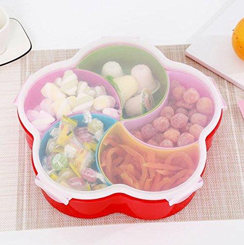 ZZSIccc Quadratische Vier Korn-Pflaumen-fünfteilige Plastik bedeckte Frucht-Platte Hochzeits-Farben-Pralinen-Kasten-Nuss-Kasten, B
