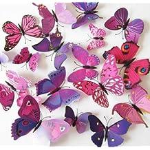 Gomaz - conjunto de 12 uds. de pegatinas 3D decorativas para pared, diseño de mariposas con adhesivo decorativo para papel, satinado, para decoración del hogar, se puede quitar, amaranth, small