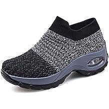 Zapatillas Deportivas de Mujer Gimnasio Zapatos Running Deportivos Fitness Correr Casual Ligero Comodos Respirable Negro Gris