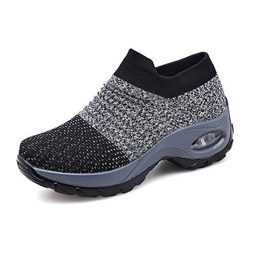 Laufschuhe Damen Sportschuhe Atmungsaktiv Turnschuhe Frauen Leicht Air Gym Running Sneaker Outdoor Schuhe Freizeitschuhe Schwarz Grau Lila Gr.35-42 GY43