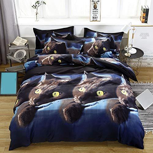 JSDJSUIT Bettwäsche-Set 3D cat gedruckt Kinder bettwäschesatz einzigen bettbezug bettlaken 2 stücke Kissenbezug King Size bettwäschesätze Hause bettwäsche dekor Tier, Uns königin 3 stücke (Cat King-size-quilt)