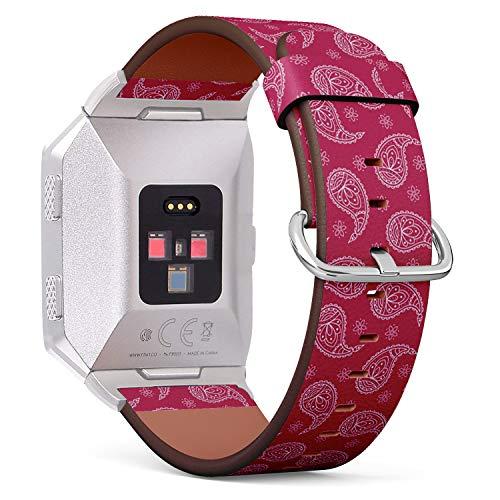 Art-Strap Kompatibel mit für Fitbit Ionic - Uhrenarmband Ersatzarmbänder Lederarmband mit Edelstahl-Verschluss und Adapter (Dieses helle Paisley) Paisley Boys Band