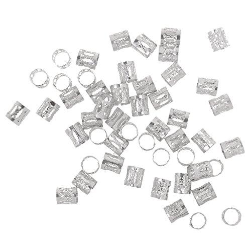 50er Pack Haar Braid Dread Dreadlock-Perlen Flechten Beads Haarverlängerung Metall Perlen für Zöpfe Dreadlocks - Silber