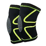 Genouillère de compression, soutien optimal du genou, pour crossfit, Jogging,Basketball, Sports,la guérison,l'arthrite et les douleurs articulaires (1 paire) Vert Fluorescent M