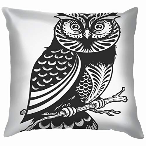 Decorative Owl Illustrations Clip Art Transportation Soft Cotton Linen Cushion Cover Pillowcases Throw Pillow Decor Pillow Case Home Decor 18X18 Inch