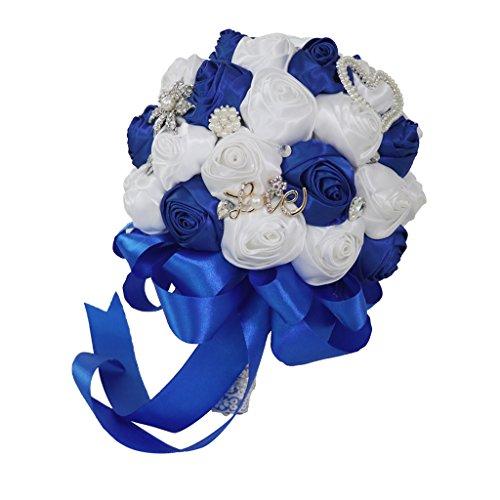 Magideal bouquet artificiale cristalli nastro rosa cuore perla damigella sposa diametro 21cm decorazione matrimonio nozze anniversario ballo - bianco blu