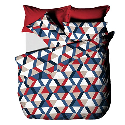 Linens Limited Loft Geometric Print Duvet Cover Set, Blue/Red, Double