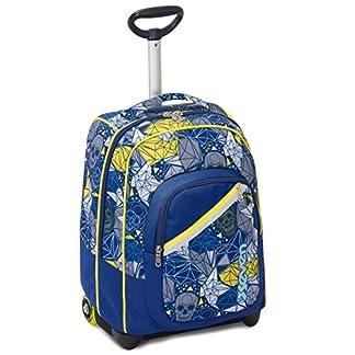 Trolley Fit Seven , Lucky , Azul Amarillo , 35 Lt , 2in1 Mochila con Ruedas , Escuela y Viaje