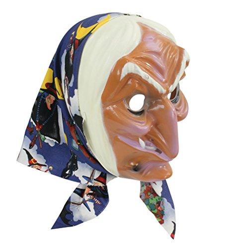 Hexenmaske mit Kopftuch Halbmaske für Erwachsene Universalgröße Halloweenmaske Gruselmaske Karnevalszubehör Kostümaccessoire Kunstmaske Babajaga