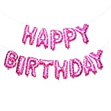 Rzctukltd Happy Birthday Banner Balloon Bunting 16 Inch Letters Foil (Pink)