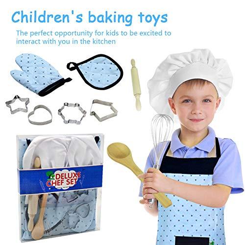 11pcs Kids Cooking and Baking Set - Kit de jouets pour enfants Jeu de rôle Ustensiles de cuisine Outils de pâtisserie Comprend Tablier Chef Hat Mitt Cuisson Outils de cuisson pour garçons Filles
