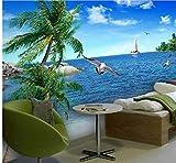 Wiwhy Fond D'Écran Personnalisé Photo 3D Murale Palm Paysage Mer Profiter Nature ChambrePapier Peint De Fond-150X120Cm
