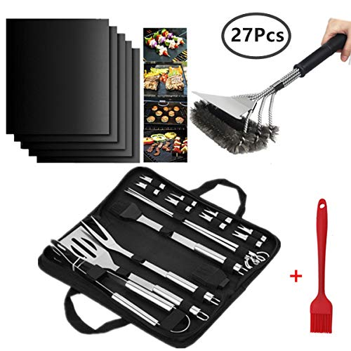 Tigerge, Barbecue Accessories 27pcs: BBQ Tools Set 20pcs + Non Stick Grill Mat 5 Pack (40 * 33cm) + Grill Cleaning Brush of Stainless Steel + Brush Silicone OD1