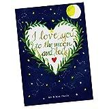 Mr. & Mrs. Panda Postkarte Love u to the moon & back - 100% handmade in Norddeutschland - Spruch Hochzeitstag, Mond, Jahrestag, romantisch, Einladung, Grußkarte, Partner Geschenk, to the moon and back, Karte, Papier, Geschenkkarte, Postkarte