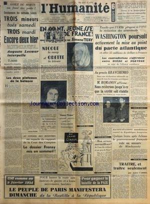 Le Dossier Romanov - HUMANITE (L') du 10/02/1949 - 3 MINEURS