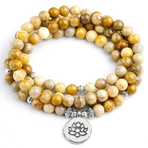 rsteinerte Korallen Armband 108 Mala Perlen Armband Oder Halskette Frauen Männer Lotus Charm Schmuck Geburtstagsgeschenk ()