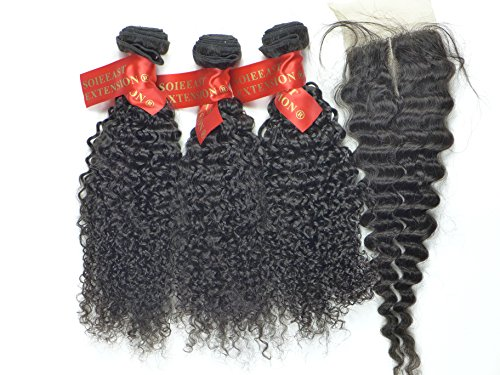 Soieeast Extension Lot 3 Boucles Kinky Wave Tissage Bresilien Grade 6A 300g et une Lace Closure Naturelle Noir