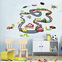Car Track 3d Wall Sticker Home Decor Cartoon Anime Wall Decal For Kids Bedroom Wallpaper