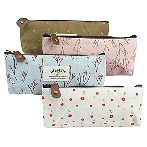 4pc Canvas Student Pencil Case, SUMERSHA Pen Case Stationery Pouch Bag Case Cosmetic Bags Flower
