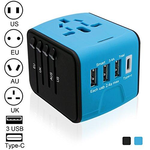 Luxebell All-in-One Universal Reiseadapter (US / EU / UK / AUS) mit 3 USB-Ports 1 Typ C Portable Adapter Converter für über 150 Internationale Nation, - Usb Adapter International