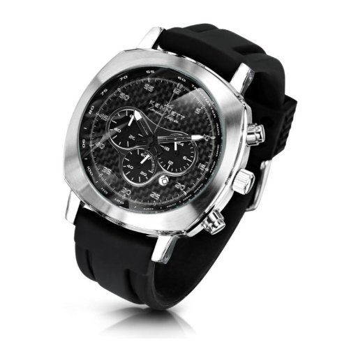 KENNETT Men's Quartz Watch with Black Dial Chronograph Display and Black Plastic or PU Strap 2001.4302