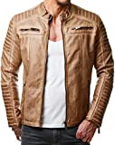 Red Bridge M6037 M6028 M6013 M6014 Veste de moto pour hommes en simili-cuir et surpiqures -  Marron - Large