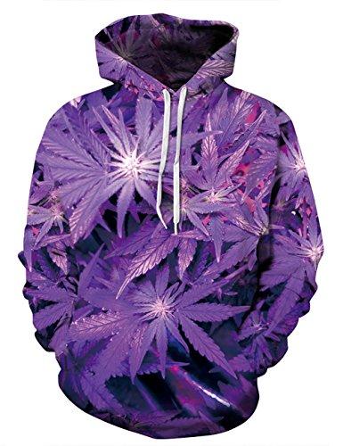puzenpullover 3D Druck Muster Hoodie Weihnachten Halloween Sweatshirt Pullover (XXL / XXXL, Blätter Lila) (Halloween-farbe Blatt)