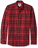 Goodthreads Camicia a Maniche Lunghe in Flanella Slim Fit Uomo, Rosso (Red/Black Plaid Red), Large
