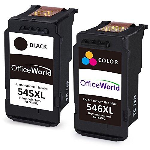 OfficeWorld Remanufactured Canon PG-545 CL-546 Druckerpatronen PG-545XL CL-546XL Kompatibel für Canon PIXMA MX495 MG2555 iP2850 MG2950 MG2550 MG2900 MG2500 MG2450 MG2455 iP2800 (1 Schwarz, 1 Farbe)