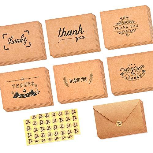 apier Dankeskarten Danke U Grußkarte W / 36 Kraftpapier Umschläge und 36 Stück Umschlag Danke Aufkleber für Hochzeit, Schulabschluss, Baby-Dusche, Jahrestag,3.2 x 4 Inches ()