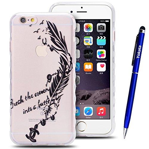 iPhone 6 / iPhone 6S Hülle, Yokata Transparent Weich TPU Soft Case mit Welle Anti-Slip Silikon Bumper Crystal Klar Schutzhülle Durchsichtig Dünne Case Cover + 1 X Stylus Pen - Vögel Schwarz Feder