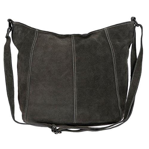Christian Wippermann Luxus Beuteltasche Damentasche aus butterweichem Wildleder in verschieden Farben (Dunkel Grau) (Wildleder Handtasche Vintage)