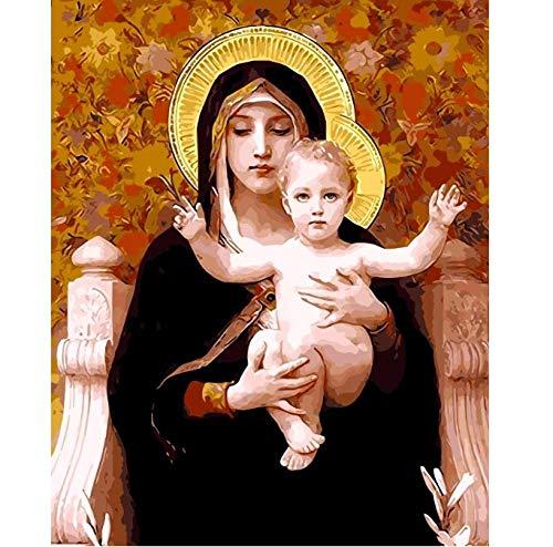 BWHome Religiöser Gott Mutter Ölgemälde Bild Digitales Bild Hand Färbung Einzigartiges Geschenk Dekoration Jungfrau Maria DIY-Rahmen30x40CM