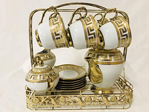 Deko-König Kaffee Set Medusa aus edlem Porzellan 15-teilig für 6 Personen Mäander Gold Verzierung mit Metall Träger