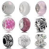 Godagoda Mixte Perles Europeennes pour Bracelet Breloque Lot de 18pcs