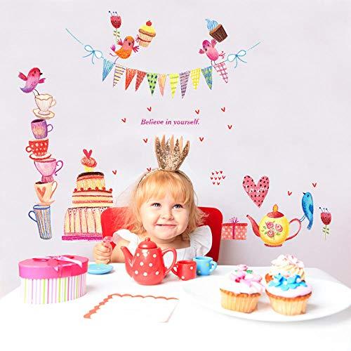 Wandaufkleber Cartoon Kuchen Tasse Vogel Dekoration Wohnzimmer Hintergrund Schlafzimmer Szene Layout Geburtstagsfeier 60X90 cm (Rosa Prinzessin-geburtstagsfeier Und Gold)