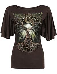 Spiral T-shirt à col bateau et manches courtes amples pour femme Motif reine des chênes Chocolat