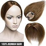 """Extensiones de Cabello Natural Clip [Hand-Tied Silk Top Base: 6 * 9cm] Prótesis Capilares Mujer (Densidad:120%) 6""""/15cm [ #06 Marrón Claro ] 100% Pelo Humano"""