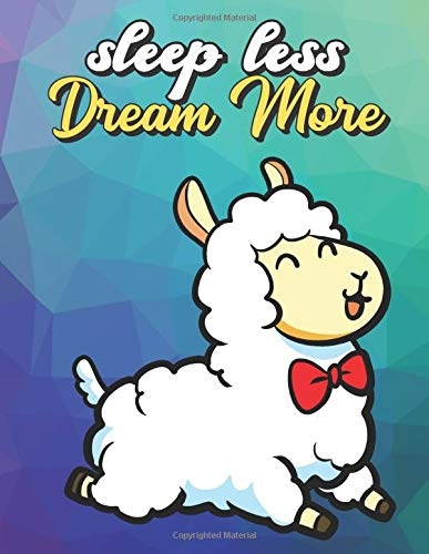 Sleep Less Dream More: Jumping White Llama with Red Bow Tie, Wide Ruled Lined Notebook for School Class Notes
