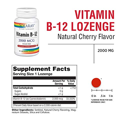 51FltzZfv2L - Solaray Vitamina B-12 2000 mcg | Sabor a cereza natural sin azúcar | Energía saludable y apoyo de los glóbulos rojos | 90 Lozenges