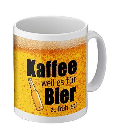 PHRASE 1 by FotoPremio Tasse mit lustigem Spruch | Kaffee, Weil es für Bier zu früh ist! | Kaffeetasse beidseitig Bedruckt Freunde, Familie oder Lieblingskollegen
