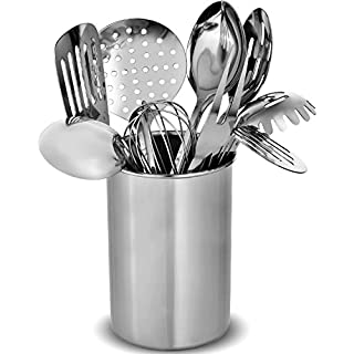 Stainless Steel Kitchen Utensil Sets - 10 Cooking Utensils - Non-Stick Heat Resistant Kitchen Tools Utensil Set - Spoons, Whisk, Turner, Spaghetti Server, Ladle, Meat Fork, Potato Masher & Pot Holder