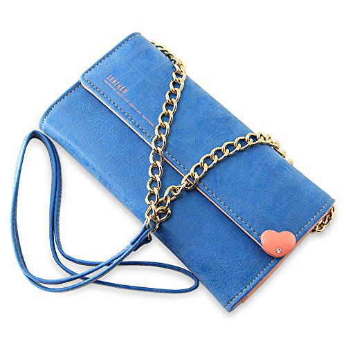 Women's Matte PU Leather Wallet [BELK] Mini Cross-body Single Shoulder Bag Cellphone Pouch viola blu