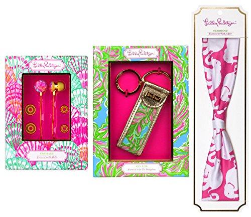 Lilly Pulitzer Oh shello Ohr Buds mit Lautstärkeregler, Tusk in der Sonne Haarband & in die Bungalows Schlüsselanhänger Geschenk-Set (3Stück) (Lilly Pulitzer Haar)