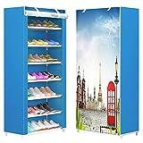 FKUO Schuhregal 8-Schicht 7-Gitter Vliesstoffe große Schuhschrank Veranstalter Abnehmbare Schuhablage für Wohnmöbel (Paris Himmel, 60 x 30 x 126cm)